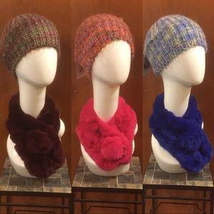Knit Cap & Faux Fur Neck Wrap Set